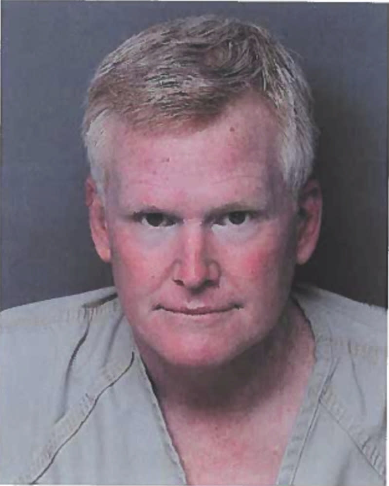 This photo provided by Hampton County Detention Center shows Alex Murdaugh. Murdaugh surrendered Thursday, Sept. 16, 2021, to face insurance fraud and other charges after state police said he arranged to have himself shot in the head so that his son would get a $10 million life insurance payout. The shooter only grazed him. (Hampton County Detention Center via AP)