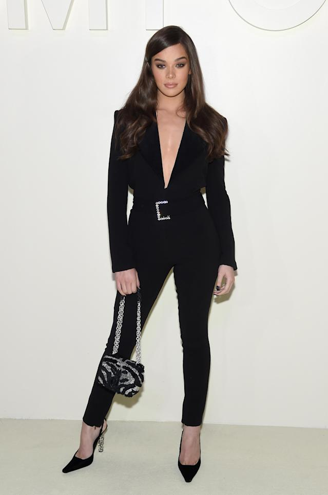 <p>Actress Hailee Steinfeld opted for a power suit at the Tom Ford show on September 5. The star-studded event kick-started this month's fashionable proceedings with NYFW now underway. <em>[Photo: Getty]</em> </p>