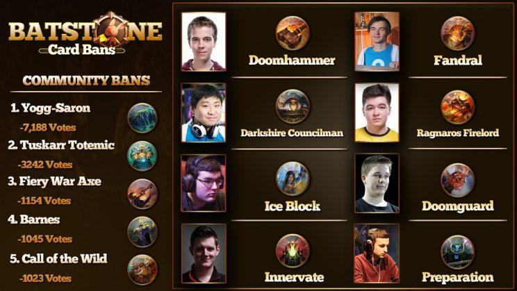 Card bans from tournament participants and the Hearthstone community (Twitter/@Firebat)