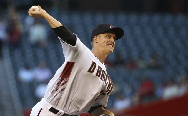 Arizona Diamondbacks starting pitcher Zack Greinke throws to a Colorado Rockies batter during the first inning of a baseball game Wednesday, June 19, 2019, in Phoenix. (AP Photo/Ross D. Franklin)