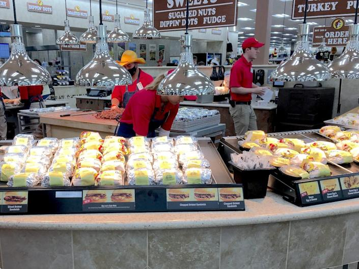 A food counter at Buc-ee's in Florida.