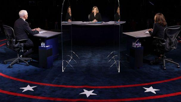 PHOTO: Democratic vice presidential nominee Sen. Kamala Harris and  Vice President Mike Pence participate in the vice presidential debate moderated by Washington Bureau Chief for USA Today Susan Page, center, Oct. 7, 2020 in Salt Lake City. (Justin Sullivan/Getty Images)