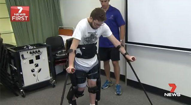 Jeremiah Sas is walking again after a BMX accident two years ago. Source: 7News
