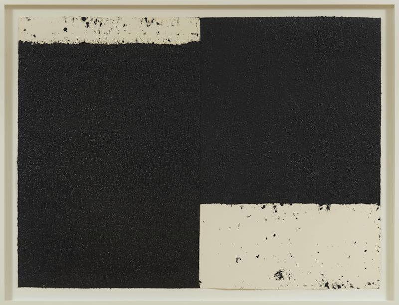 RICHARD SERRA, Diptych #6, 2019. Paintstick, etching ink and silica on handmade paper, 47 1/2 x 63 1/4 inches, (120.7 x 160.7 cm).