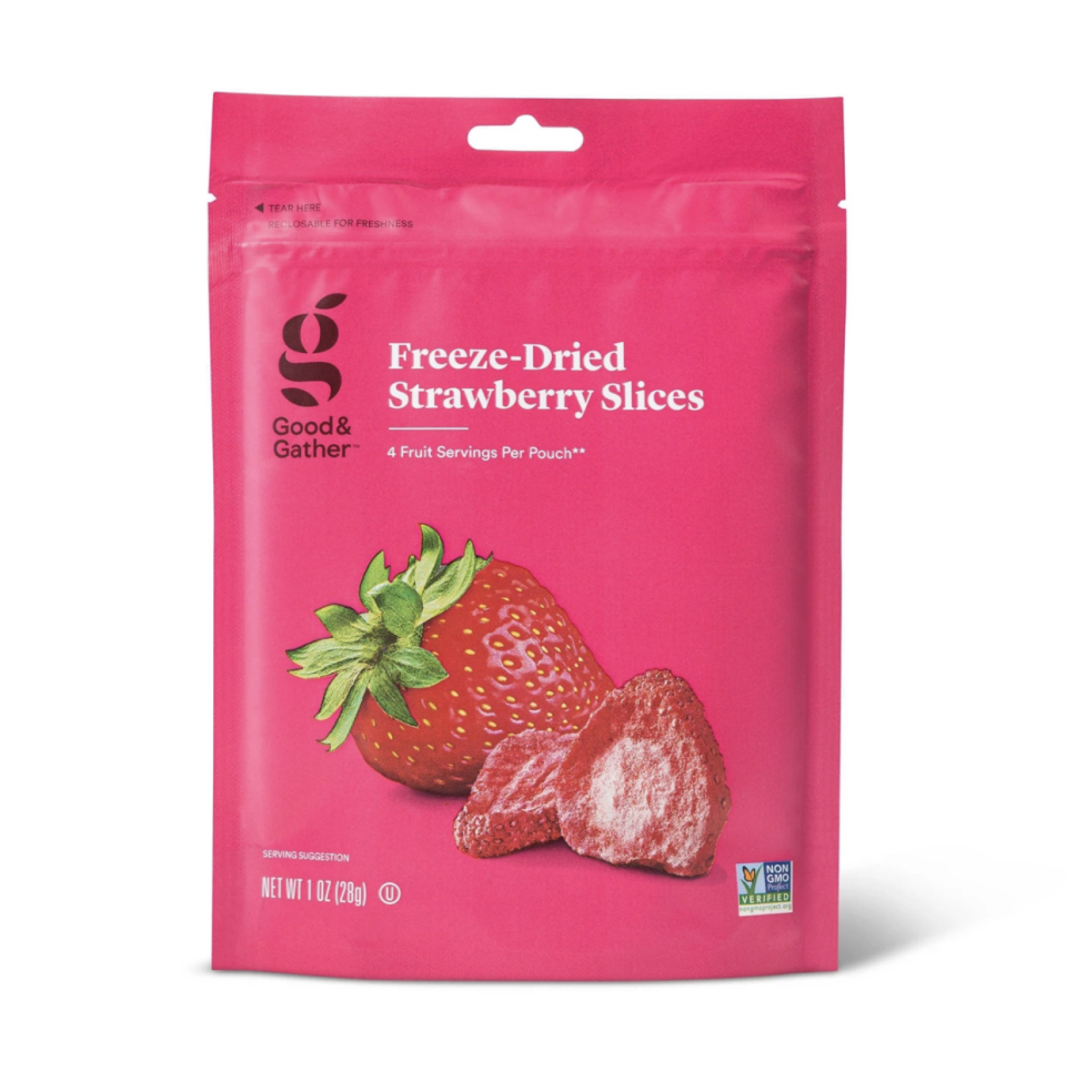 """<p><a class=""""link rapid-noclick-resp"""" href=""""https://www.target.com/p/freeze-dried-strawberry-slices-1oz-good-gather-8482/-/A-54527745"""" rel=""""nofollow noopener"""" target=""""_blank"""" data-ylk=""""slk:BUY NOW"""">BUY NOW</a> <strong><em>$4, target.com</em></strong></p><p>Since these strawberries are freeze-dried, the water has been removed, but you still have the nutrients. Genius.<br></p>"""