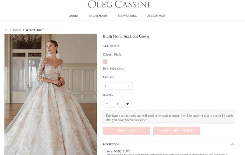 The dress is listed on the label's site as retailing at just over $3,000. Source: Oleg Cassini