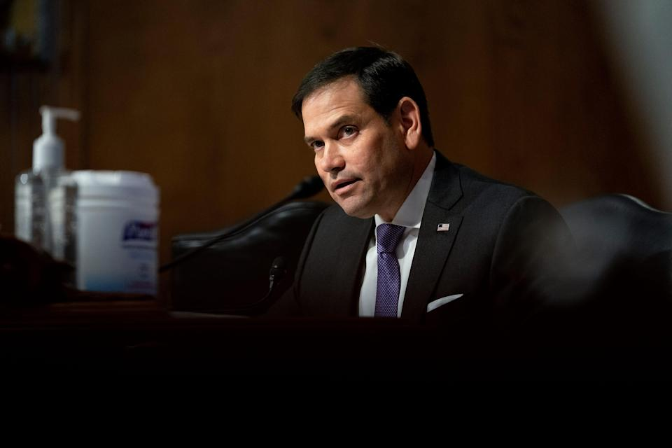 WASHINGTON, DC - MAY 26: Senator Marco Rubio (R-FL) speaks during a Senate Appropriations Subcommittee hearing May 26, 2021 on Capitol Hill in Washington, D.C.