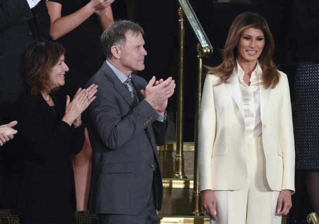 Melania Trump was a vision in white at the president's State of Union address. (Photo: Getty Images)
