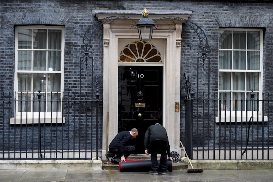 LONDON, ENGLAND - OCTOBER 08: Red carpet is rolled out before Britain's Prime Minister Boris Johnson's meeting with President of Ukraine Volodymyr Zelensky at number 10 Downing Street in central London, United Kingdom on October 8, 2020. (Photo by Kate Green/Anadolu Agency via Getty Images)