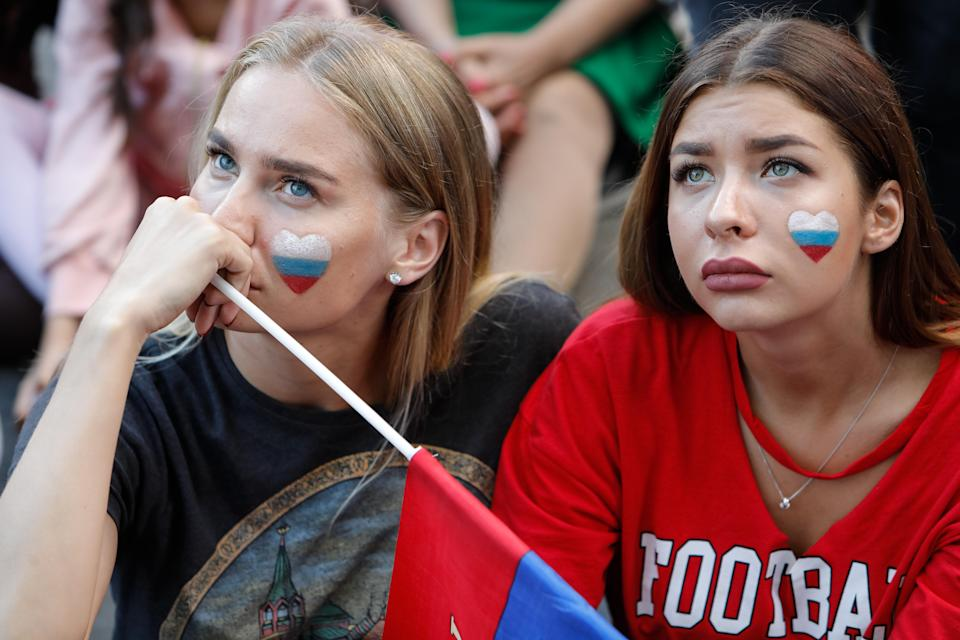 <p>Russia supporters during the FIFA World Cup 2018 match between Russia and Uruguay on June 25, 2018 at Fan Fest zone in Saint Petersburg, Russia. (Photo by Mike Kireev/NurPhoto via Getty Images) </p>