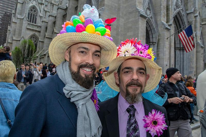 Richardo and John march during the Easter Parade and Bonnet Festival, Sunday, April 21, 2019, in New York. (Photo: Gordon Donovan/Yahoo News)