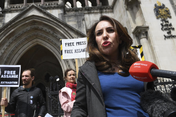 Julian Assange's partner, Stella Moris speaks to the media outside the High Court in London, Wednesday July 7, 2021. Britain's High Court has granted the U.S. government permission to appeal a decision that WikiLeaks founder Julian Assange cannot be sent to the United States to face espionage charges. The judicial office said Wednesday that the appeal had been granted and the case would be listed for a High Court hearing. (Stefan Rousseau/PA via AP)