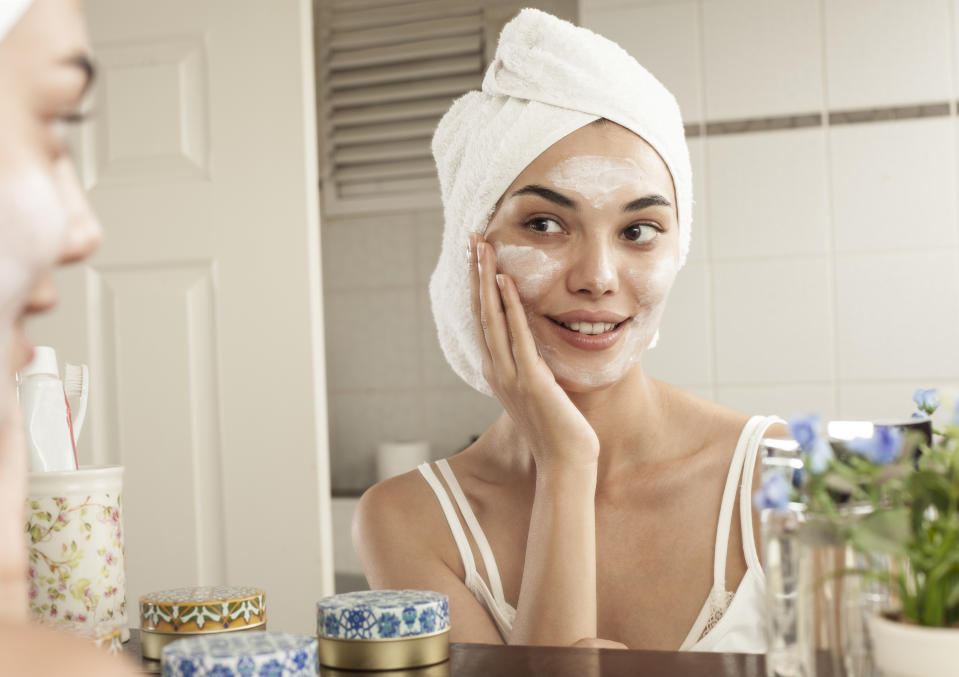 woman beauty care at bathroom