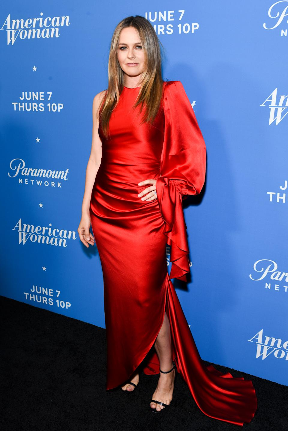 "LOS ANGELES, CA - MAY 31: Alicia Silverstone attends Premiere Of Paramount Network's ""American Woman"" - Arrivals at Chateau Marmont on May 31, 2018 in Los Angeles, California. (Photo by Presley Ann/Getty Images)"