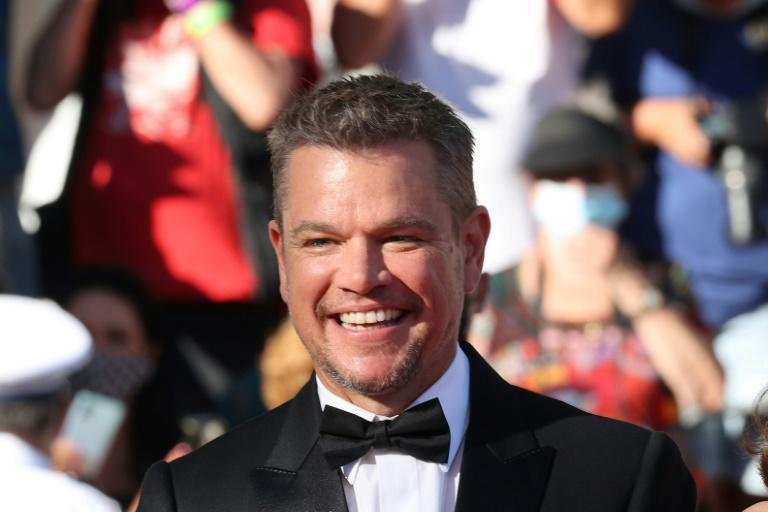 A glamorous Matt Damon on the Cannes red carpet, a far cry from his redneck character in 'Stillwater'