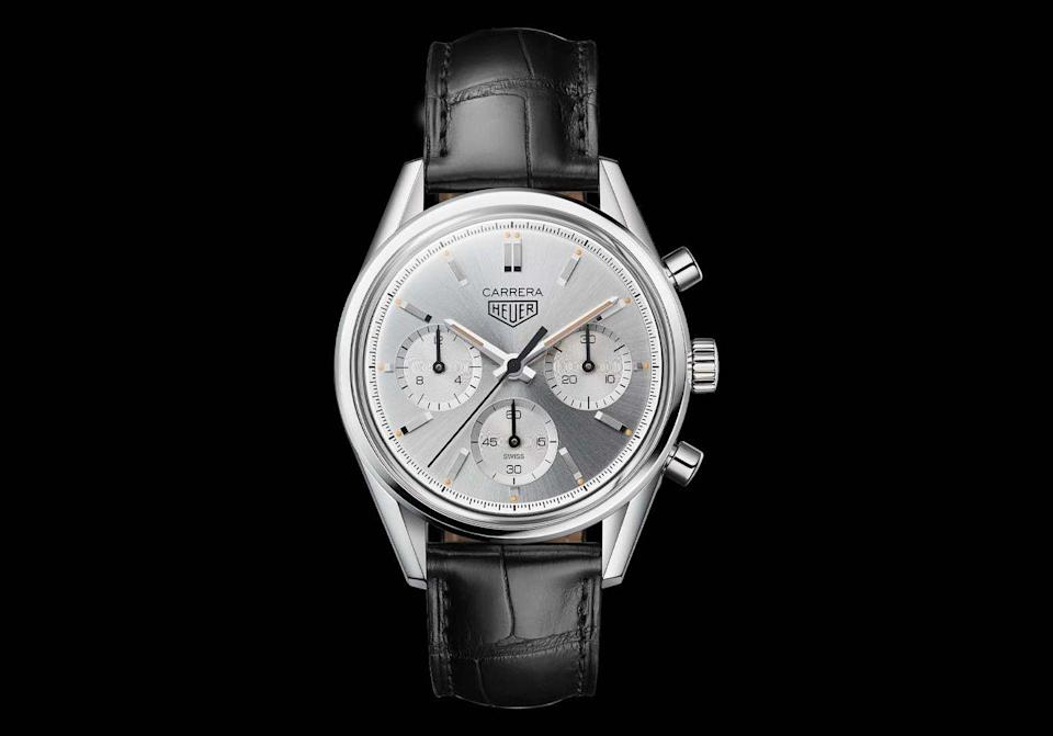 """<p><a class=""""link rapid-noclick-resp"""" href=""""https://www.tagheuer.com/gb/en/timepieces/collections/tag-heuer-carrera/39-mm-calibre-heuer02/CBK221B.FC6479.html"""" rel=""""nofollow noopener"""" target=""""_blank"""" data-ylk=""""slk:SHOP"""">SHOP </a></p><p>One of a bunch of limited-edition Carreras launched to mark the 160th birthday of the brand, this model's silver on silver stylings are the last word in 'classic men's watch'. It might look like it's straight off the dashboard of a Sixties sports car but there's 2020 technology all the way inside – namely, Tag's in-house automatic Heuer 02 movement, boasting a power reserve of more than 80 hours. Limited to 1860 pieces – you do the math(s). </p><p>£5,295; <a href=""""https://www.tagheuer.com/gb/en/timepieces/collections/tag-heuer-carrera/39-mm-calibre-heuer02/CBK221B.FC6479.html"""" rel=""""nofollow noopener"""" target=""""_blank"""" data-ylk=""""slk:tagheuer.com"""" class=""""link rapid-noclick-resp"""">tagheuer.com</a></p>"""