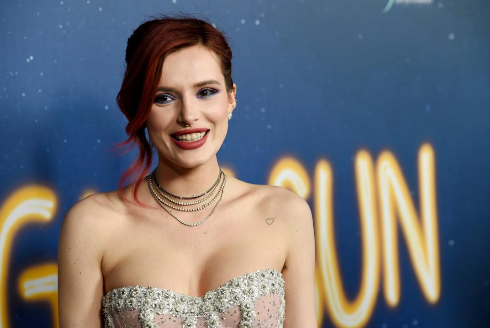 Bella Thorne poses at the premiere of