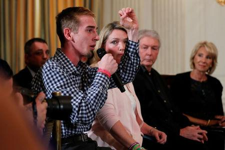 U.S. President Donald Trump hosts a listening session with Marjory Stoneman Douglas High School shooting survivors at the White House in Washington