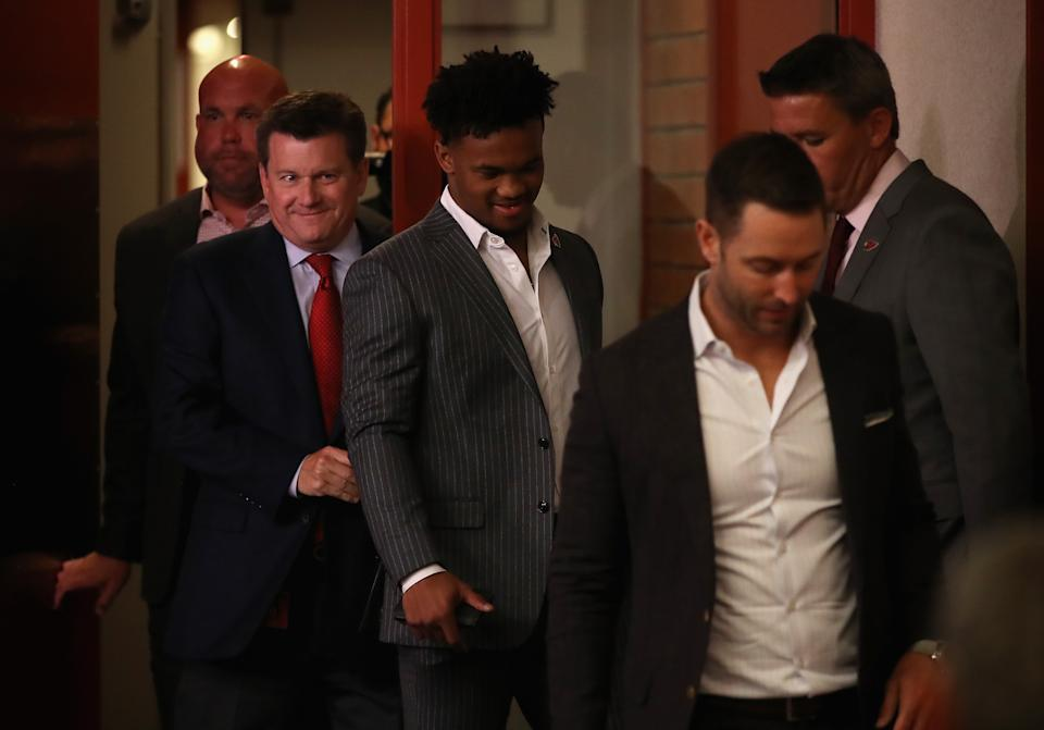 TEMPE, ARIZONA - APRIL 26:  (L-R) General manager Steve Keim, president Michael Bidwell, quarterback Kyler Murray and head coach Kliff Kingsbury of the Arizona Cardinals arrive to a press conference at the Dignity Health Arizona Cardinals Training Center on April 26, 2019 in Tempe, Arizona. Murray was the first pick overall by the Arizona Cardinals in the 2019 NFL Draft. (Photo by Christian Petersen/Getty Images)