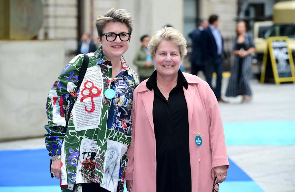 Debbie Toksvig and Sandi Toksvig attending the Royal Academy of Arts Summer Exhibition Preview Party held at Burlington House, London. (Photo by Ian West/PA Images via Getty Images)