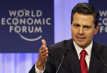 Mexico's President Pena Nieto speaks during session of World Economic Forum in Davos