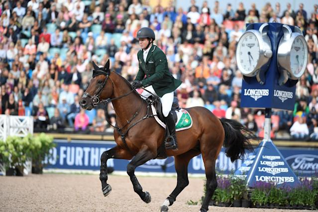 Equestrian - FEI European Championships 2017 - Jumping Individual Final - Ullevi Stadium, Gothenburg, Sweden - August 27, 2017 - Shane Sweetnam of Ireland rides on his horse Chaqui Z. TT News Agency/Pontus Lundahl via REUTERS ATTENTION EDITORS - THIS IMAGE WAS PROVIDED BY A THIRD PARTY. SWEDEN OUT. NO COMMERCIAL OR EDITORIAL SALES IN SWEDEN