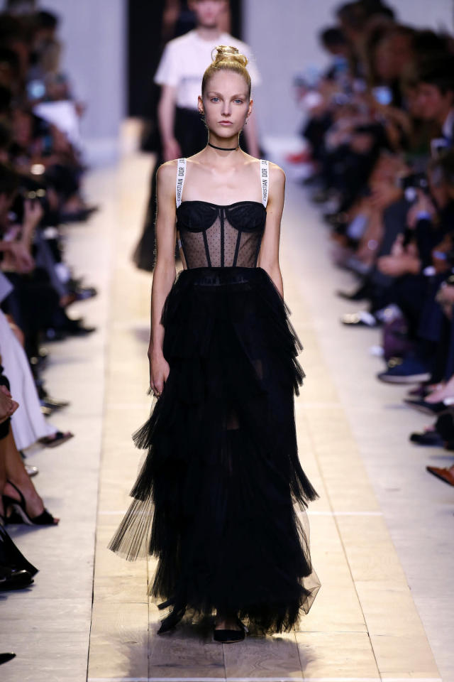 <p>The sheer, structured bodice-style dress first appeared on the runway during the Christian Dior Spring/Summer 2017 show during Paris Fashion Week. (Photo: Getty Images) </p>