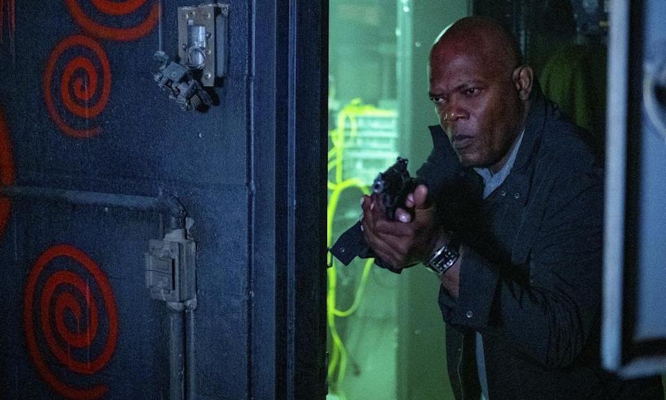 Samuel L Jackson in a scene from Spiral: From the Book of Saw. (Brooke Palmer/Lionsgate via AP)