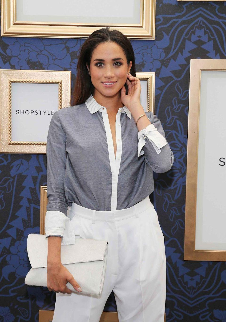 <p>She goes full-blown prep at an exclusive preview of the Marchesa Voyage for ShopStyle collection in New York City.</p>