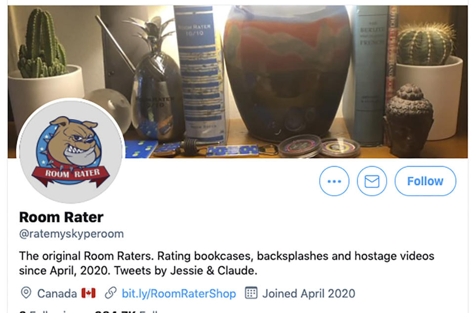 This image shows the Twitter page for Room Rater, which rates TV commentators and their expert guests appearing remotely from their homes. In the early days of lockdown, they, like many of us, sat in front of blank white walls. Now their walls display colorful artwork. Room Rater scores speakers' setups on a 10-point scale for details like lighting and camera level. Good artwork can boost a score. (Room Rater via AP)