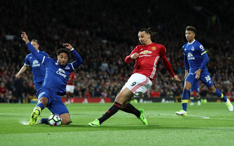 Manchester United's Zlatan Ibrahimovic shoots during the Premier League match at Old Trafford - Credit: PA