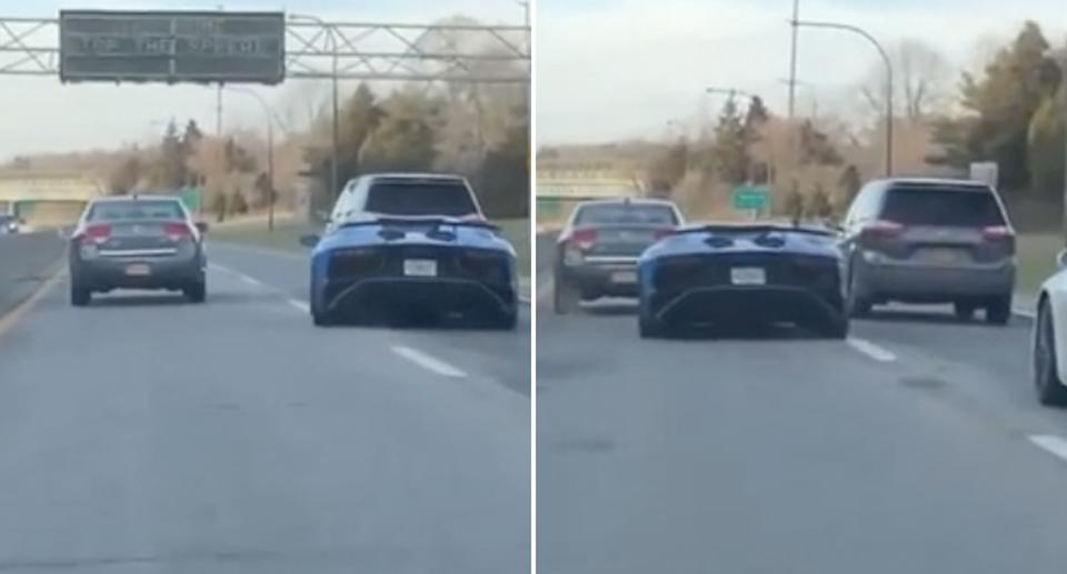 A Lamborghini is pictured trying to overtake traffic in New York.