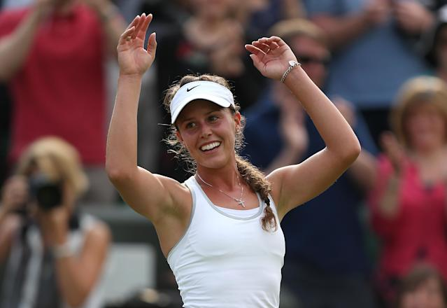 Portugal's Michelle Larcher De Brito celebrates beating Russia's Maria Sharapova during day three of the Wimbledon Championships at The All England Lawn Tennis and Croquet Club, Wimbledon.