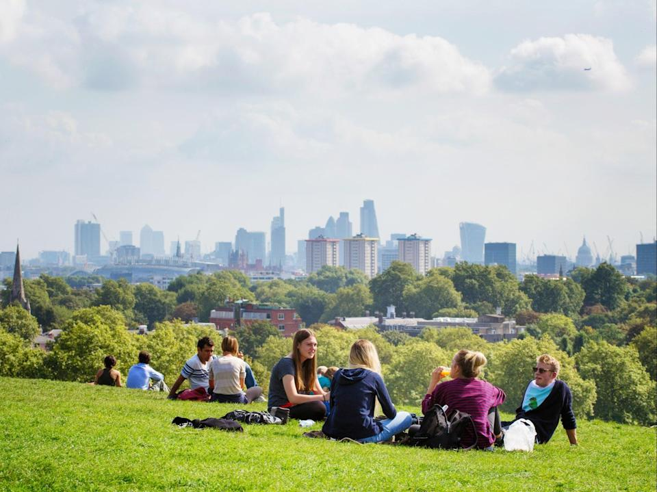 Groups of up to six people from multiple households, or larger groups from only two households, will be able to meet outdoors or in private gardens from 29 March under the government's roadmap out of lockdown (Getty Images)