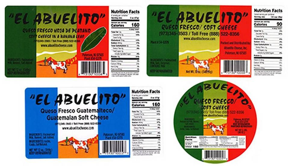 The product labels for recalled El Abuelito Queso Fresco Regular, Queso Fresco Promoción, Queso Fresco con Hoja and Queso Fresco Guatemalteco.