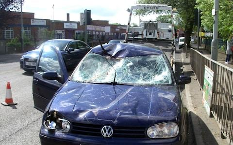 The car which collided with the horse was left badly damaged with a smashed windscreen - Credit: RSCPA/PA