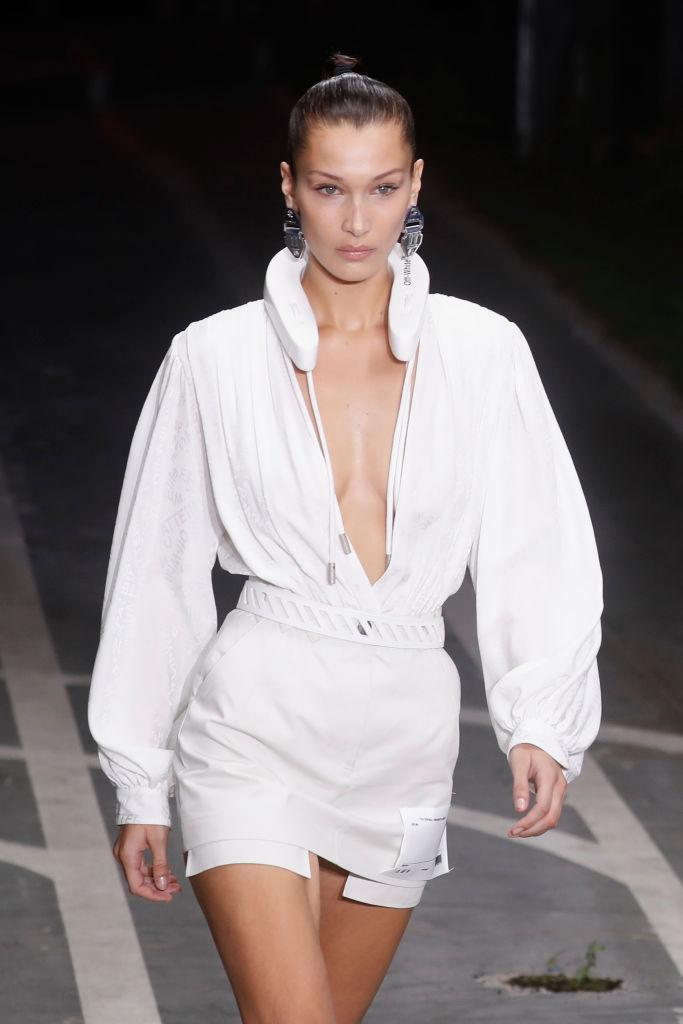 <p>A close-up shot of the Off-White accessory Bella Hadid wore around her neck during the Off-White Spring/Summer 2019 show. (Photo by Richard Bord/Getty Images) </p>