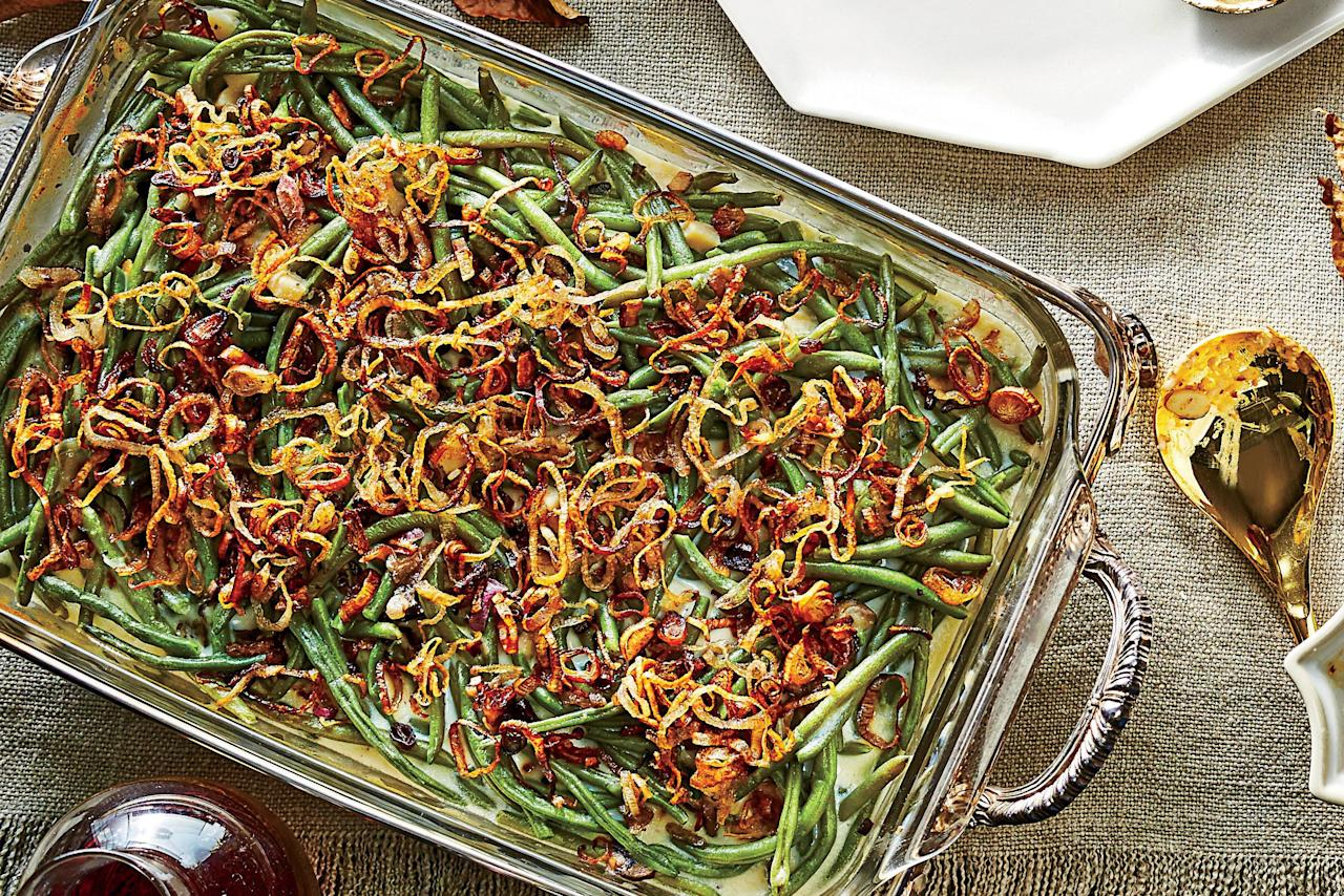 """<p><b>Recipe: </b><a href=""""https://www.southernliving.com/recipes/old-school-green-bean-casserole-recipe""""><b>Old-School Green Bean Casserole</b></a></p> <p>We'd hate to mess with a good thing, and this old-school casserole is just that. From the frozen French-cut green beans to the crispy fried onion topping, it's a familiar sight on every supper table.</p>"""
