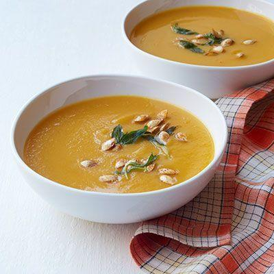 """<p>Two veggies in one makes this soup for ultimate vegetarian main.</p><p><em><a href=""""https://www.womansday.com/food-recipes/food-drinks/recipes/a12291/butternut-squash-carrot-soup-recipe-wdy1013/"""" rel=""""nofollow noopener"""" target=""""_blank"""" data-ylk=""""slk:Get the recipe from Woman's Day »"""" class=""""link rapid-noclick-resp"""">Get the recipe from Woman's Day »</a></em></p>"""