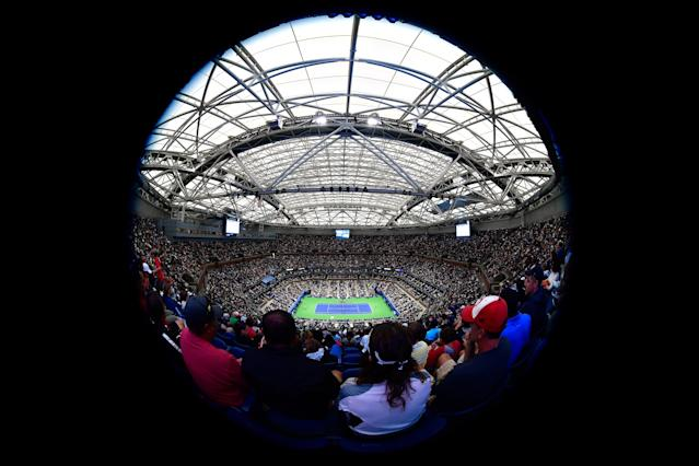 <p>A general view of Arthur Ashe Stadium as Rafael Nadal of Spain plays against Dusan Lajovic of Serbia & Montenegro during their first round Men's Singles match on Day Two of the 2017 US Open at the USTA Billie Jean King National Tennis Center on August 29, 2017 in the Flushing neighborhood of the Queens borough of New York City. (Photo by Steven Ryan/Getty Images) </p>