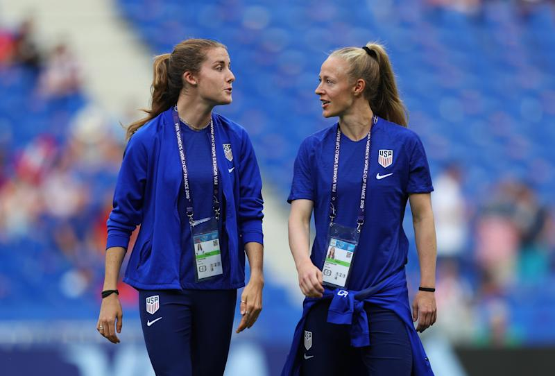 Tierna Davidson (left) is on track to take Becky Sauerbrunn's job at some point. (Photo by Naomi Baker - FIFA/FIFA via Getty Images)