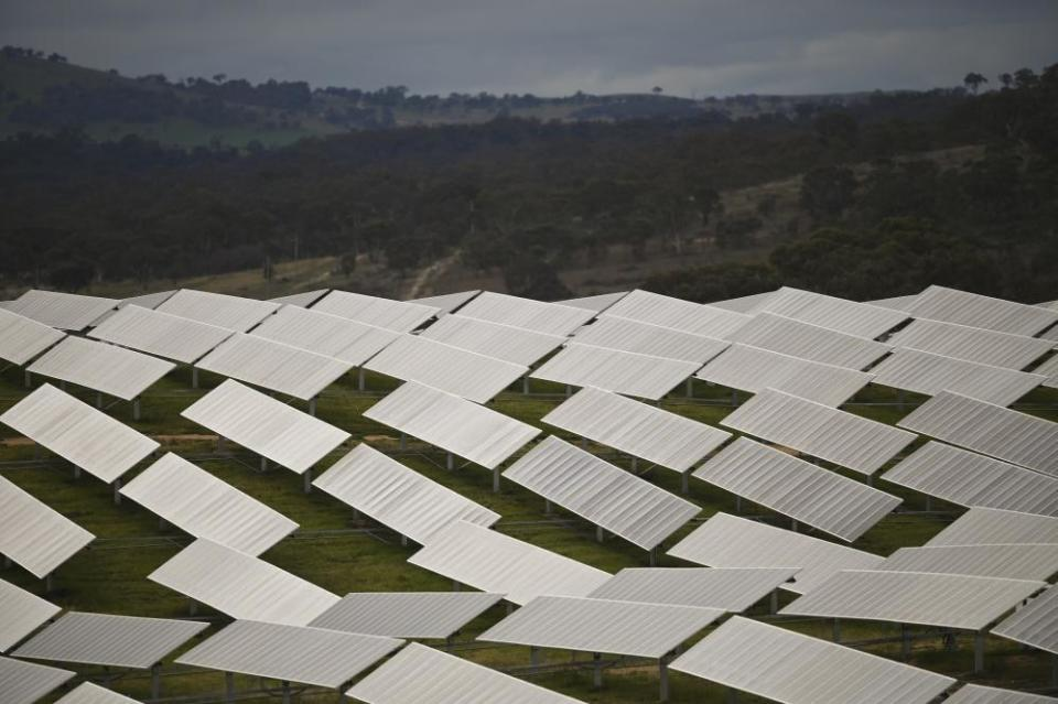 Solar panels are seen at the Williamsdale Solar Farm outside Canberra, Monday, June 29, 2020. (AAP Image/Lukas Coch) NO ARCHIVING