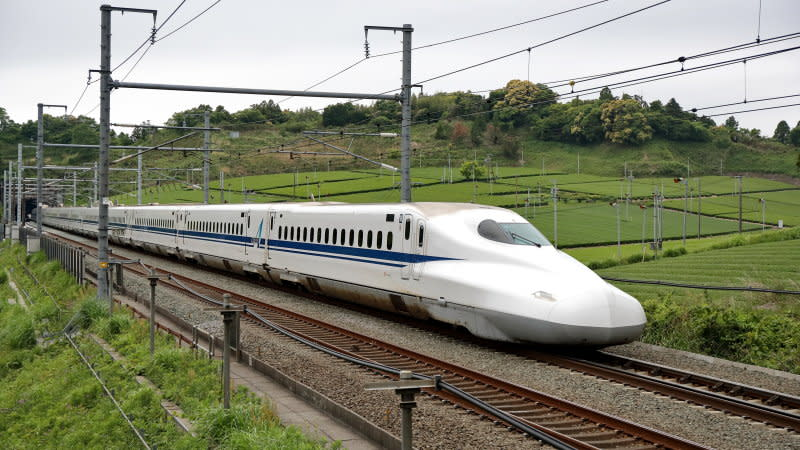 KIKUGAWA, JAPAN - MAY 15: A N700A Shinkansen bullet train runs between Kakegawa and Shizuoka stations on May 15, 2017 in Kikugawa, Shizuoka, Japan. (Photo by Manabu Takahashi/Getty Images)