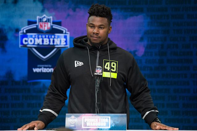 Auburn OT Prince Tega Wanogho tells his incredible journey at the NFL scouting combine. (Photo by Zach Bolinger/Icon Sportswire via Getty Images)