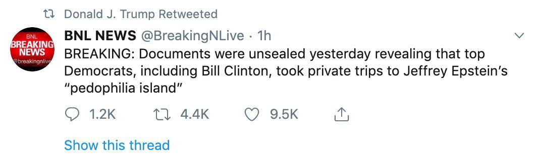 """The court documents did not affirm that Clinton went to """"pedophilia island."""" (Photo: Twitter)"""