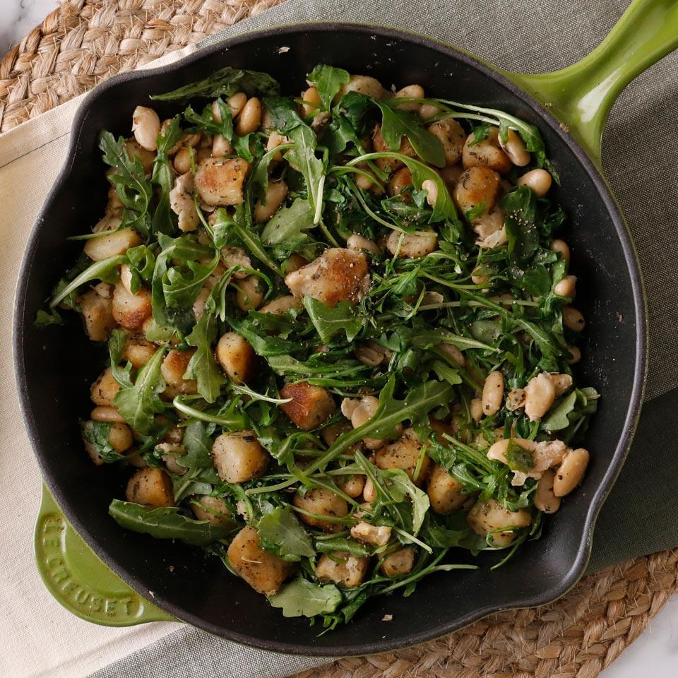 """<p>Turn lower-carb cauliflower gnocchi into a complete and satisfying meal with this riff on classic brown butter and sage gnocchi. We added beans to amp up the fiber and protein for a fast and healthy dinner. <a href=""""http://www.eatingwell.com/recipe/269897/white-bean-sage-cauliflower-gnocchi/"""" rel=""""nofollow noopener"""" target=""""_blank"""" data-ylk=""""slk:View recipe"""" class=""""link rapid-noclick-resp""""> View recipe </a></p>"""