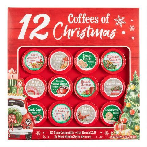 "<h3>12 Coffees of Christmas Advent Calendar</h3><br>For a festive brew, make every morning Christmas morning with this array of flavored K-cups.<br><br><strong>World Market</strong> 12 Coffees Of Christmas Coffee Pods 12 Count, $, available at <a href=""https://go.skimresources.com/?id=30283X879131&url=https%3A%2F%2Fwww.worldmarket.com%2Fproduct%2F12%2Bcoffees%2Bof%2Bchristmas%2Bcoffee%2Bpods%2B12%2Bcount.do%3Fsortby%3DourPicks"" rel=""nofollow noopener"" target=""_blank"" data-ylk=""slk:World Market"" class=""link rapid-noclick-resp"">World Market</a>"