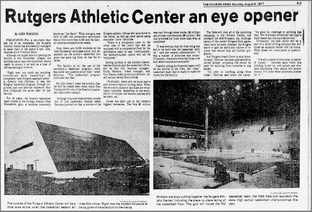 An excerpt from the Home News Tribune in 1977 when the Rutgers Athletic Center was near completion. (Courtesy Rutgers Athletics)