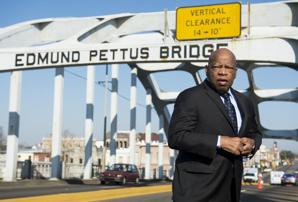 """The late Rep. John Lewis, D-Ga., seen on the Edmund Pettus Bridge in Selma, Ala., in 2015. Lewis had been beaten by police on the bridge on """"Bloody Sunday"""" 50 years prior in 1965. (Photo: Bill Clark/CQ Roll Call)"""