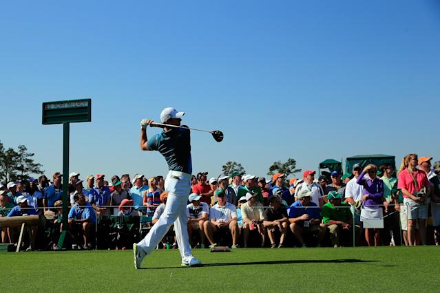 AUGUSTA, GA - APRIL 12: Rory McIlroy of Northern Ireland hits his tee shot on the first hole during the third round of the 2014 Masters Tournament at Augusta National Golf Club on April 12, 2014 in Augusta, Georgia. (Photo by Rob Carr/Getty Images)